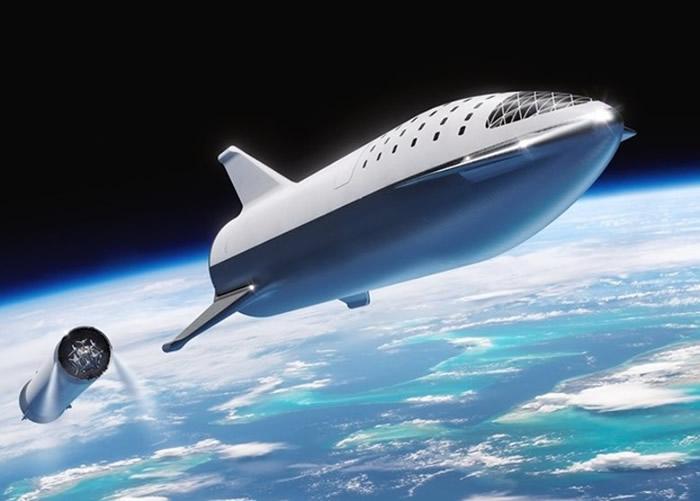 大型猎鹰火箭把旅客送往月球。图为构想图。