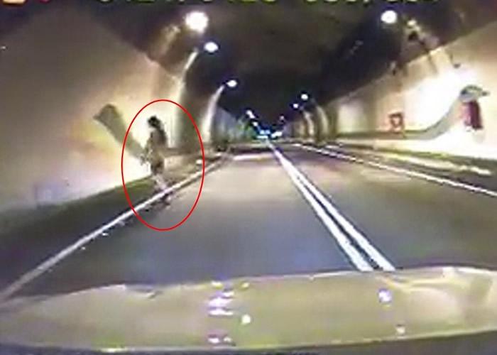 诡异!台湾司机凌晨驾车进入台北1号隧道时惊见全裸女子