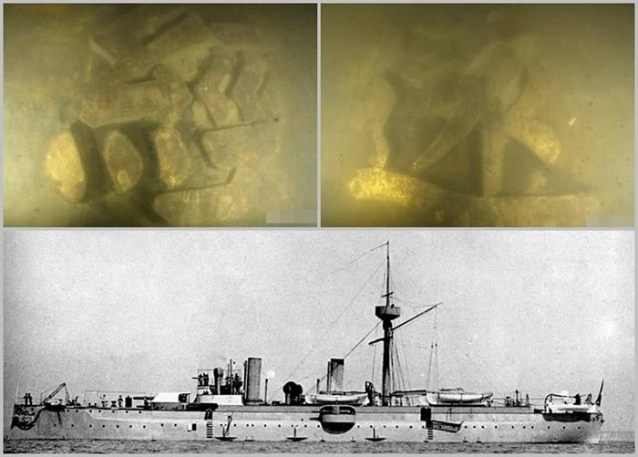 """考古人员在水下发现舰舷外壁的木质髹金""""经远""""名字牌,确认沉舰为""""经远舰""""。"""
