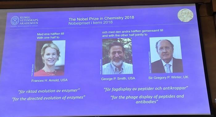 2018年度诺贝尔化学奖授予Frances H. Arnold、George P. Smith和Gregory P. Winter