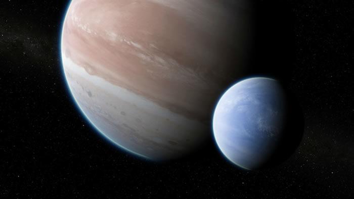 由画家构思的系外行星Kepler-1625b及其假想的大型卫星。这对星球的质量和半径比与地球-月亮系统的比例类似,但被放大了11倍。