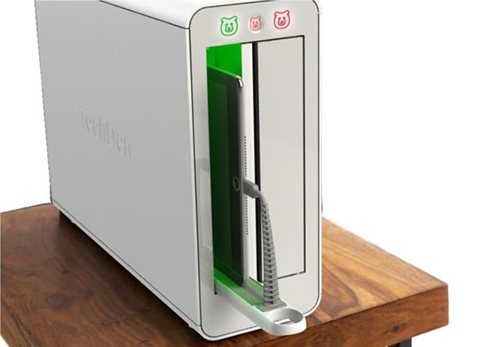 盒子可以容纳手机或平板电脑。