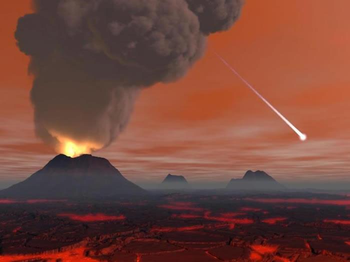 科学家和艺术家常常将地球形成的最初想像成如地狱般到处都是火山和熔岩原的景色。然而在数亿年间,水可能就因陆地冷却而能存在于地表,生命不久后也随之出现。 ILLUS
