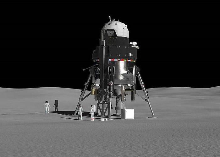 登月舱可在月球表面停留一段较长时间;图为构想图。