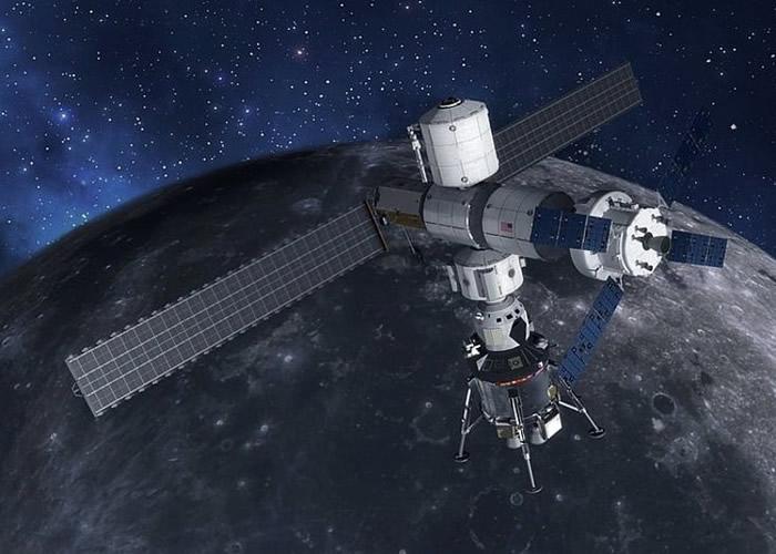 """登月舱将以""""深空门户""""太空站为母船;图为构想图。"""