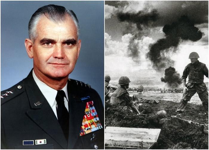 威斯特摩兰(左图)计划把核武运入南越。右图为溪生战役。