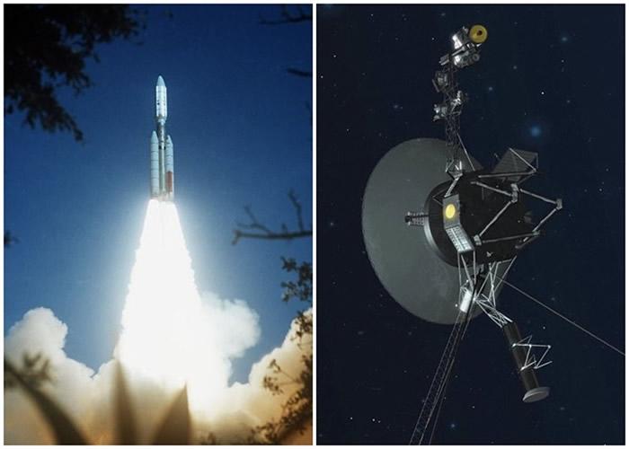 NASA将旅行者二号(右图)射上太空。