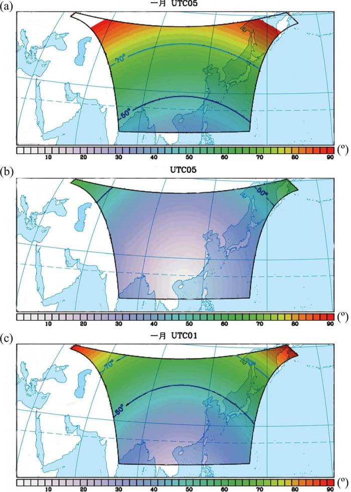 静止卫星观测区域内像元太阳天顶角和观测天顶角