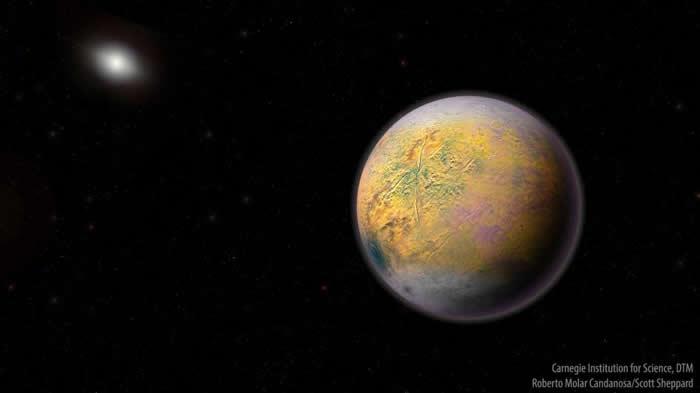 艺术家笔下的X行星想像图。虽然目前我们还没发现X行星,但它可能会影响遥远的小型天体轨道──就像是最近刚发现的2015 TG387。 ILLUSTRATION B