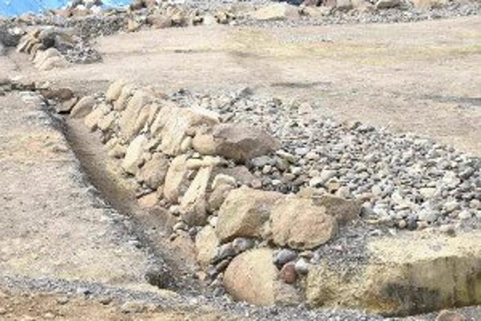 德川家康筑建的骏府城遗址内出土的石墙遗迹。