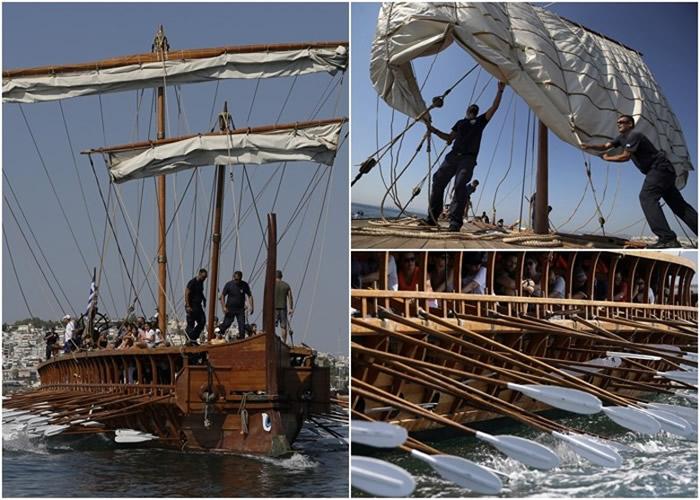 """""""奥林匹克号""""仿照古希腊三列桨木战舰重制。"""