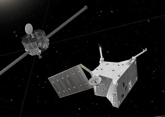 探测器将分别调查水星的表面地壳和磁场;图为构想图。