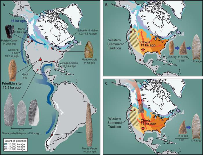 美国德克萨斯州发现的新款尖状投掷物或提示存在两个不同的进入北美的古人类群