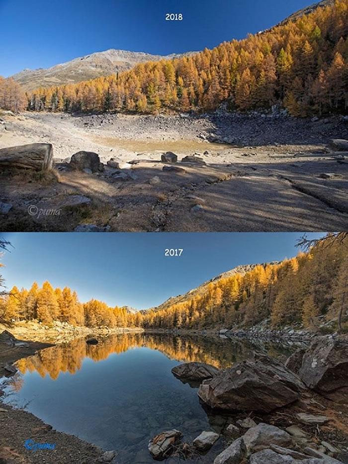 意大利著名的阿尔卑斯山蓝湖几乎已经干涸