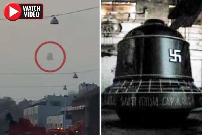 """纳粹德国秘密武器""""纳粹钟""""?瑞典哥德堡网友汽车中拍摄到天空中巨大吊钟型UFO飘浮"""