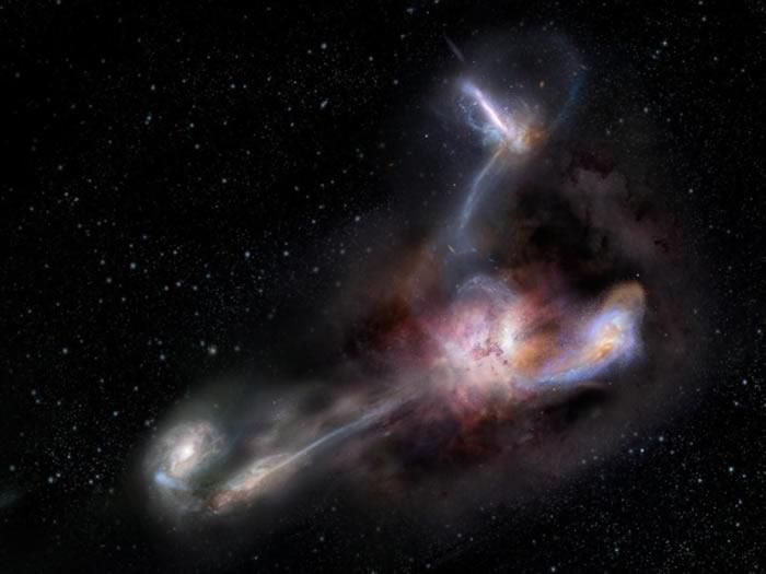 早期宇宙中星系合并为形成光亮有力的被星尘遮蔽的类星体提供原材料