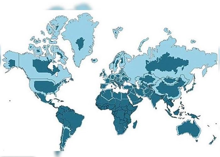浅蓝区域为麦卡托地图,深蓝区域为各大陆真正大小。