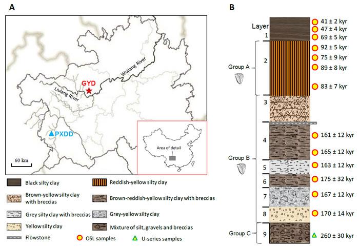 观音洞遗址地理位置、地层与年代(胡越 供图)