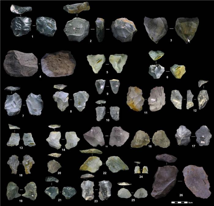 观音洞遗址出土石制品(勒瓦娄哇石核、石片、工具和修理台面石片) (胡越 供图)
