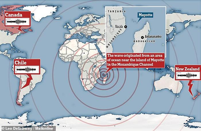 """11月11日全球各地侦测到神秘低频地震波 锁定印度洋上的法属""""马约特岛"""""""