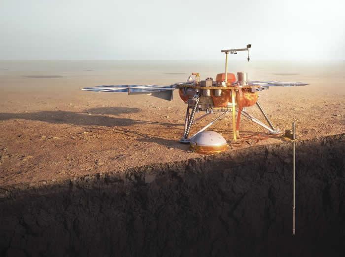 在这张艺术家所绘制的想像图中,美国航太总署的洞察号火星登陆器往下钻探红色星球。 JASON TREAT, NGM STAFF. ART: TOMÁS