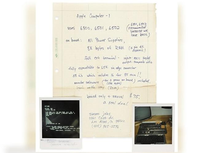 乔布斯手写的操作手册短笺,连同即影即有照片将拍卖。