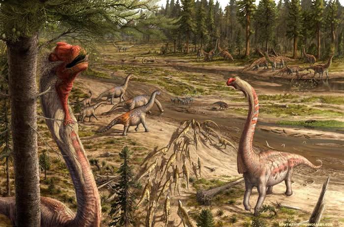 腕龙视角 - 在这幅大约1.5亿年前的侏罗纪场景中,美国古生物艺术家布莱恩.恩格(Brian Engh)想像从一只腕龙的视角看向美国犹他州的古代洪水河槽。 「我