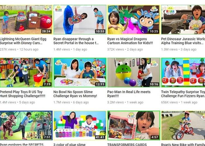 Ryan ToysReview几乎每天均会上载新片。