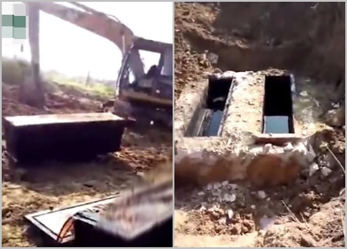 广东省潮州市工地发现古墓 2棺木尸体保存完好