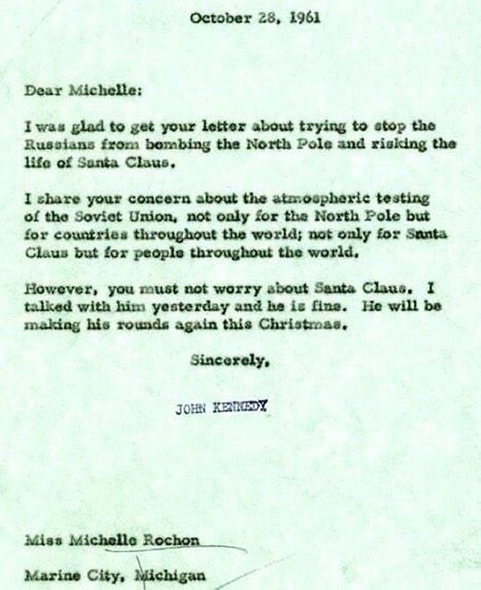 美国前总统肯尼迪给小女孩写信保证圣诞老人将经受得住苏联在北极进行的军事试验