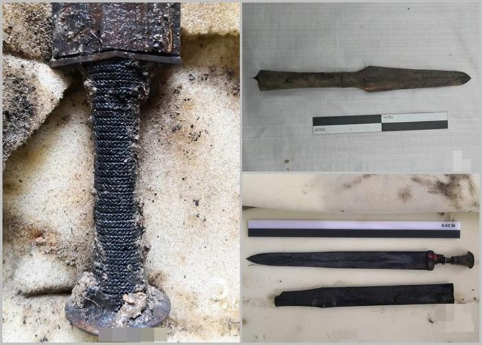 挖掘出的文物包括剑柄(左图)、越式矛和青铜剑(右上及下图)。