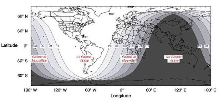 全球各地区的人们能否看到「超级血狼月」的示意图。