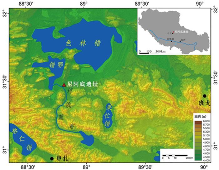 尼阿木底旧石器地点位置。来源:《人类学学报》