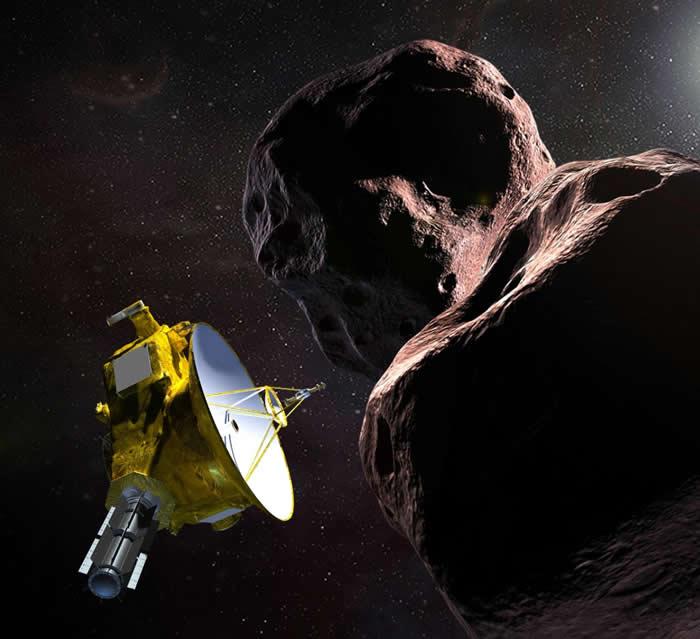 艺术家为这次历史性飞掠任务所绘制的插图。 美国航天总署(NASA)的新视野号(New Horizons)宇宙飞船正飞越一颗昵称为「天涯海角」的小行星2014 M