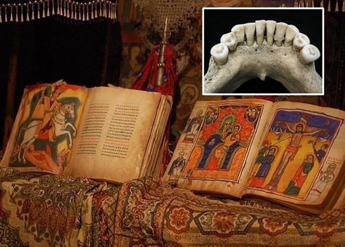 专家在修女骸骨牙齿中(小图)发现深蓝色颜料,相信死者生前曾参与绘制《圣经》。