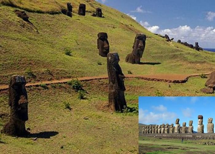 部分摩艾石像放置于阿胡石台之上。