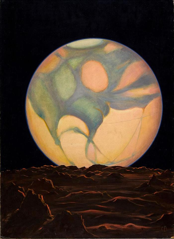 1939年这幅画的图说写道,「地球以外的唯一生命,或许就存在于火星的绿色地块上。 许多天文学家认为那是某种植被,因为它们会随着火星的季节更迭而出现或消失。 」几