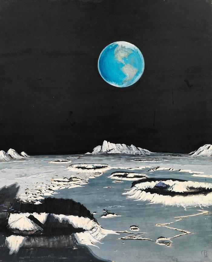 这幅绘于1939年、从月球看地球的画作,和几十年后由阿波罗号航天员所拍摄的实际照片比起来,相似度却高得惊人。 月球陨石坑凸起的边缘「理论上来说相当正确,」一位美
