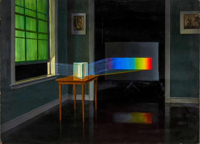 「图中的光以散射成颜色光谱的模样呈现,而我们所知一切关于宇宙的知识,几乎都是光告诉我们的,」这幅画的图说这么说,图中描绘的是三棱镜把阳光散射成彩虹的颜色。 PA