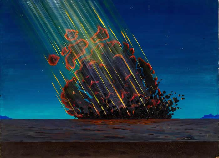 这幅画描绘的是艺术家想象中小行星或彗星撞进亚利桑那州、砸出著名陨石坑的景象。 猎户座高悬在右上角。 PAINTING BY CHARLES BITTINGER