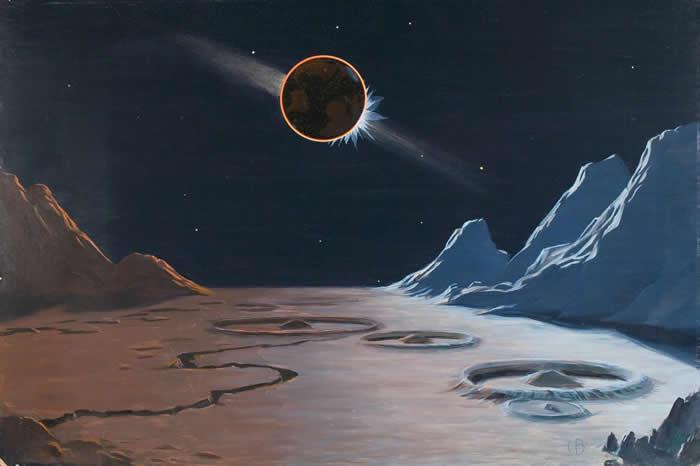毕廷哲想象中从月球上看地球造成的日食的景象。 这幅景象中有会发光的云,代表的是黄道带的光,因飘浮在行星间平面上的微小粒子反射阳光所造成。 PAINTING BY