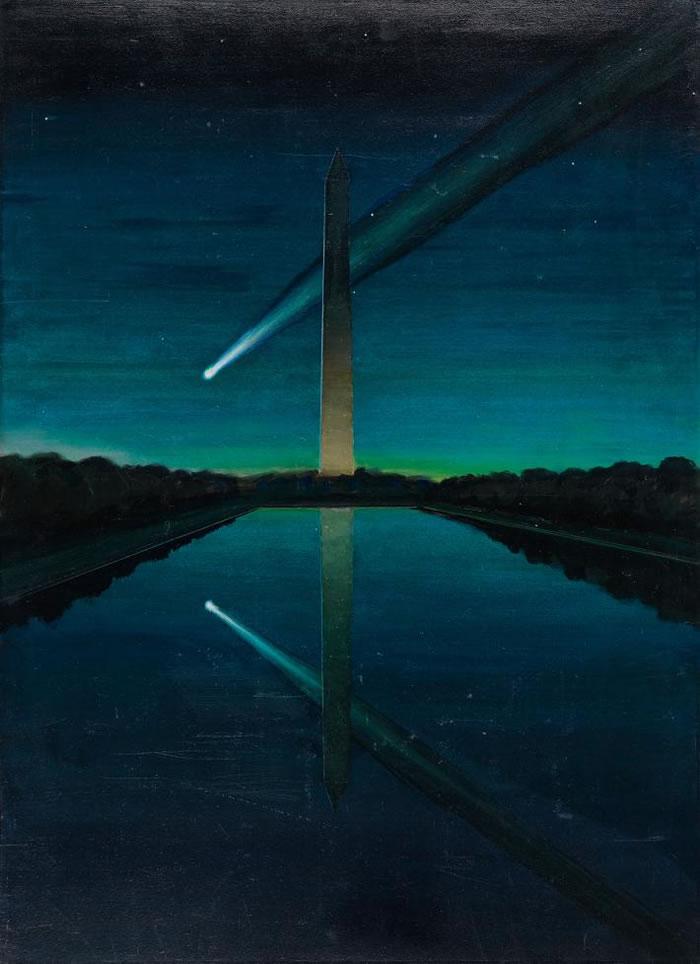 拥有壮观彗尾的彗星,彷佛在黎明时分划过了美国首府的华盛顿纪念碑(Washington Monument)。 PAINTING BY CHARLES BITTIN
