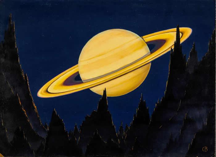 这幅画描绘的是从80万公里远处的小行星上远眺土星和经典土星环的景象。 毕廷哲的画作「展现出1900年代早期仅有少数艺术家才具备的想象力的跨越,创造出从另一个世界