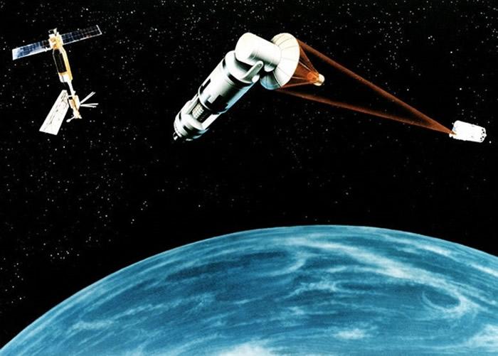 """冷战时期的""""星战计划"""",提出在太空部署反导武器。图为构想图。"""