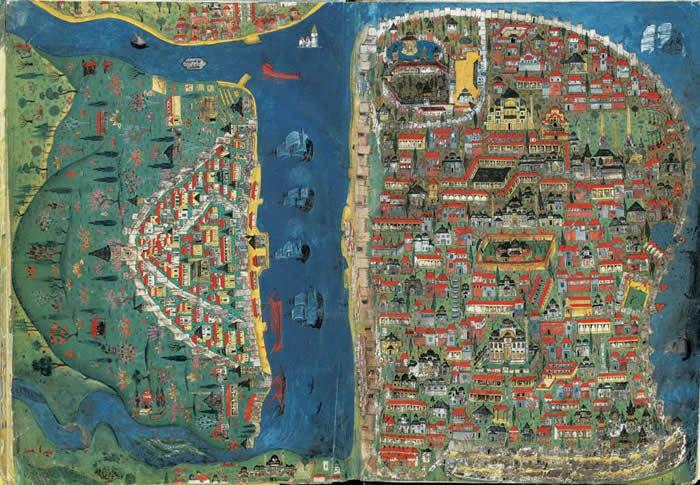 马洽希. 纳素(Matrakçı Nasuh)所绘的16世纪伊斯坦堡地图上,可以看到像圣索非亚大教堂(Hagia Sophia)之类著名地
