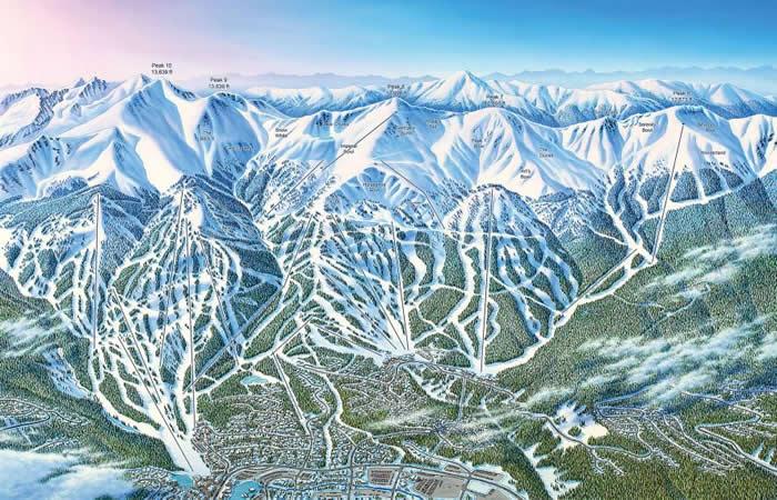 在这幅科罗拉多州布雷肯里治滑雪场(Breckenridge Ski Resort)的地图中,画家吉姆. 尼修斯(Jim Niehues)稍微更动了滑雪场的地貌,