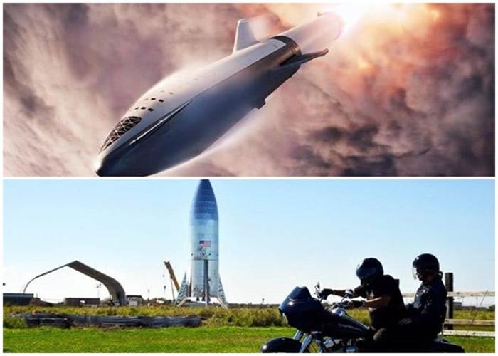 (上图)研发中的星舰火箭将是有史以来最大型的太空火箭。(下图)SpaceX在德州基地竖立的星舰火箭外壳被强风吹倒。(互联网/美联社图片)