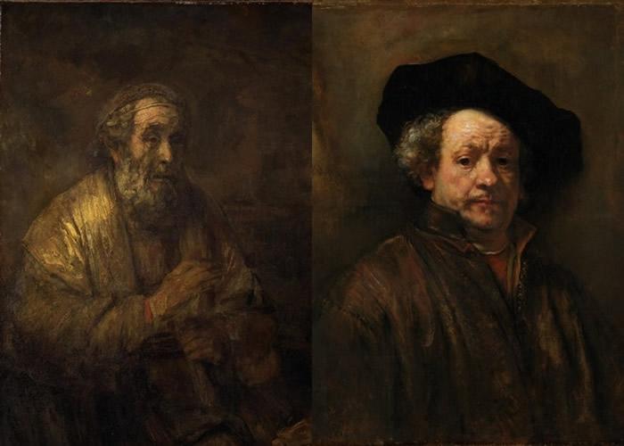 《荷马》(左图)由伦勃朗(右图)绘出。
