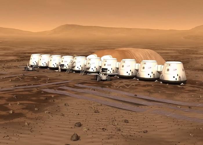 图为火星一号公布人类在火星定居点的动画。