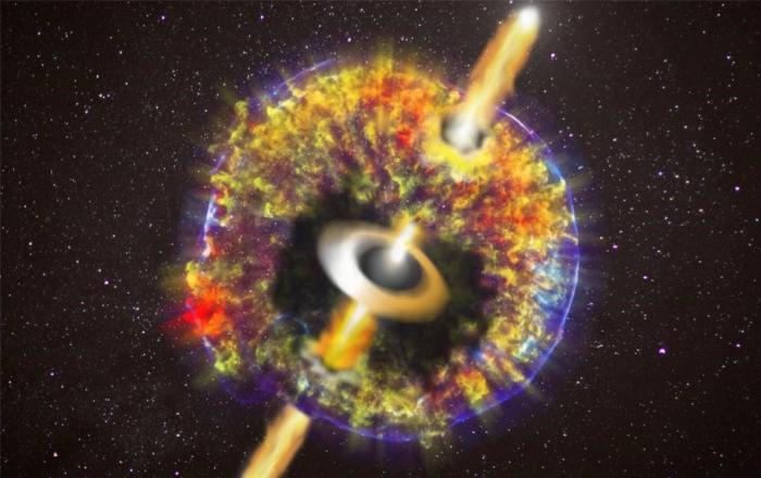 """中子星并合遗迹—""""黑洞(中子星)-吸积盘""""系统产生的喷流冲破千新星壳层进入星际空间。致谢:NASA / CXC / GSFC / B.Williams等"""